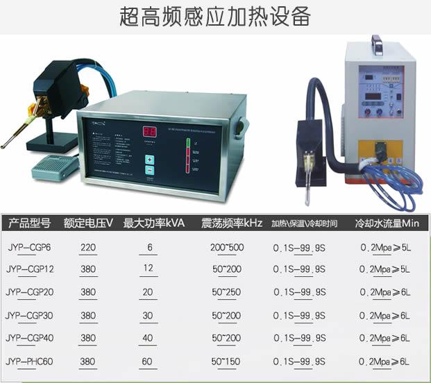 超高频感应加热设备产品型号与参数